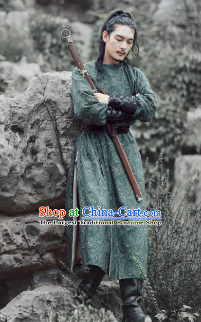 Chinese Ancient Swordsman Embroidered Green Robe Traditional Tang Dynasty Imperial Bodyguard Costumes for Men