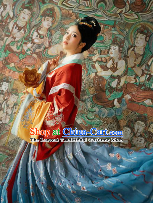 Chinese Ancient Drama Goddess Red Hanfu Dress Traditional Jin Dynasty Imperial Consort Embroidered Costumes for Women