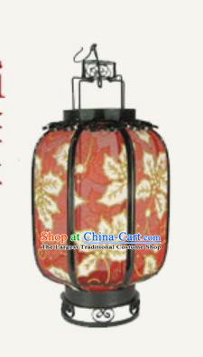 Chinese Traditional Handmade Printing Leaf Red Palace Lantern New Year Iron Ceiling Lamp