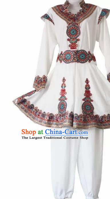 Chinese Traditional Uyghur Nationality White Outfits Xinjiang Ethnic Folk Dance Stage Show Costume for Men