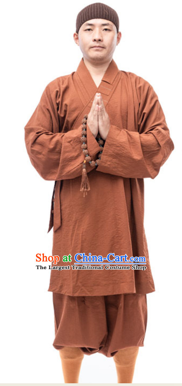 Brown Color Ancient Chinese Style Monk Dresses Monk Garment for Men