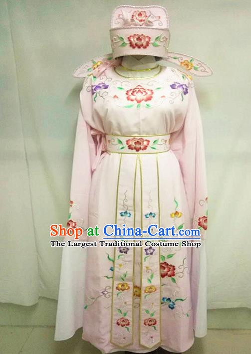 Chinese Traditional Peking Opera Scholar Embroidered Pink Costume Ancient Nobility Childe Clothing for Men