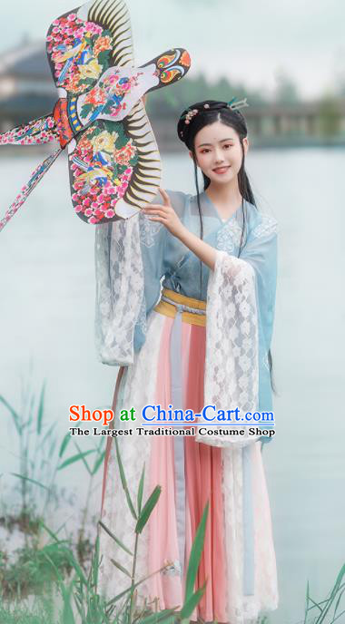 Chinese Ancient Drama Goddess Hanfu Dress Traditional Jin Dynasty Nobility Lady Dance Costumes for Women