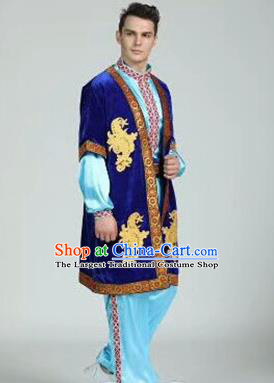 Chinese Traditional Uyghur Nationality Royalblue Outfits Xinjiang Ethnic Minority Folk Dance Stage Show Costume for Men