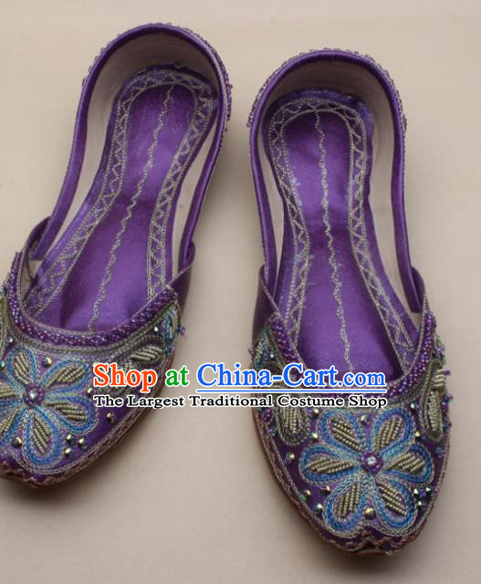 Asian India National Embroidered Purple Leather Shoes Handmade Indian Traditional Folk Dance Shoes for Women