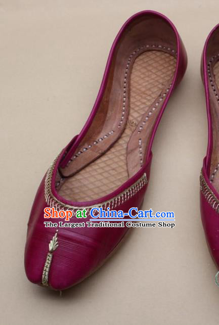 Asian Nepal National Handmade Rosy Leather Shoes Indian Traditional Folk Dance Shoes for Women