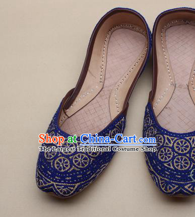 Asian Nepal National Handmade Beaded Royalblue Shoes Indian Traditional Folk Dance Leather Shoes for Women