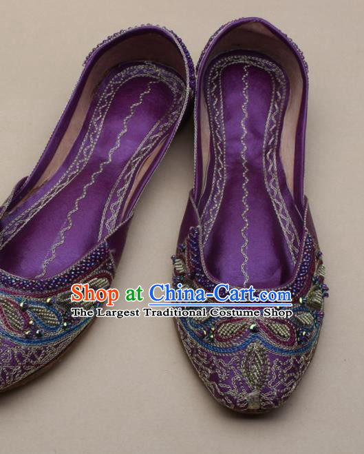 Asian Nepal National Handmade Beaded Purple Leather Shoes Indian Traditional Folk Dance Shoes for Women