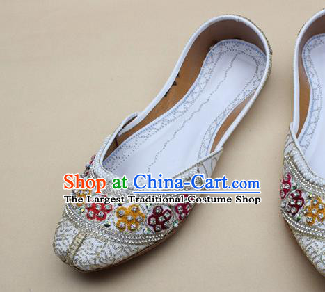 Asian Nepal National White Leather Shoes Handmade Indian Traditional Folk Dance Shoes for Women