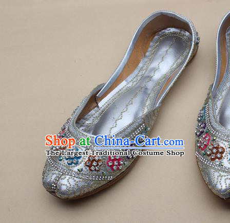 Asian Nepal National Light Grey Leather Shoes Handmade Indian Traditional Folk Dance Shoes for Women