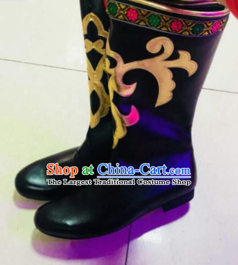 Chinese Traditional Uyghur Minority Black Boots Ethnic Xinjiang Folk Dance Stage Show Shoes for Men