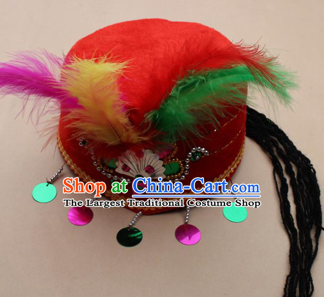 Handmade Chinese Traditional Uyghur Minority Feather Red Silk Hat Ethnic Nationality Folk Dance Headwear for Women