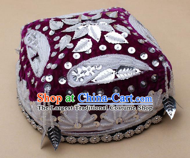 Handmade Chinese Traditional Uyghur Minority Dance Purple Hat Ethnic Nationality Headwear for Women