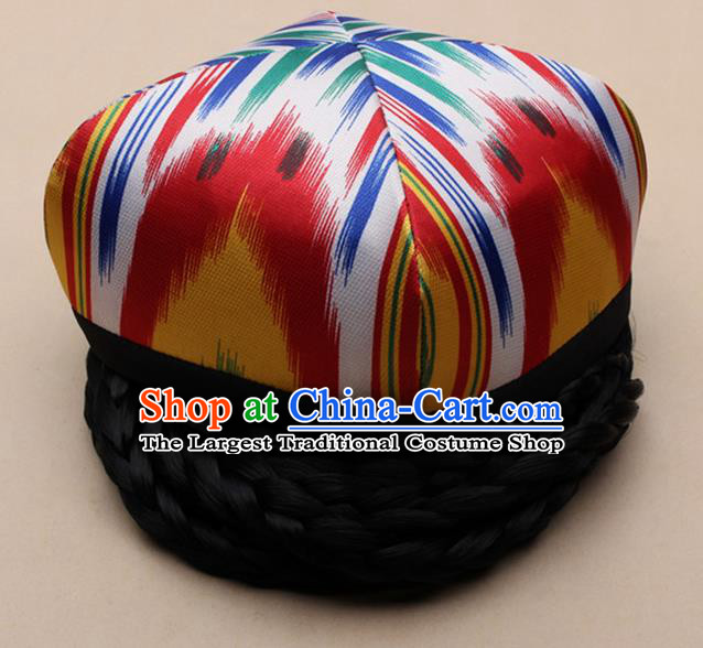 Handmade Chinese Traditional Uyghur Minority Dance Hat Ethnic Nationality Headwear for Women