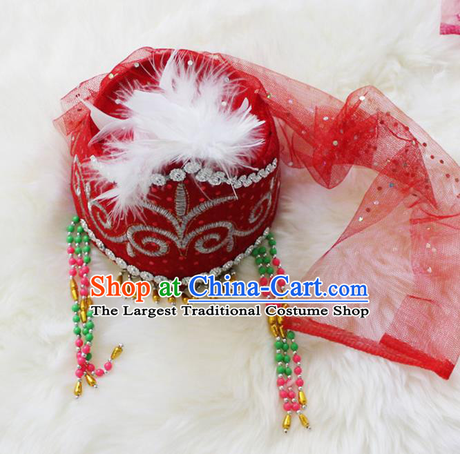 Handmade Chinese Traditional Kazak Minority Dance Red Veil Hat Ethnic Nationality Headwear for Women