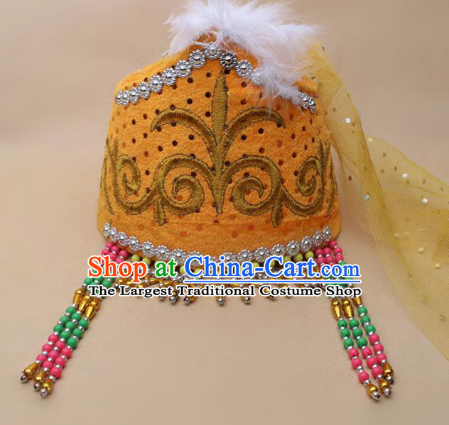 Handmade Chinese Traditional Kazak Minority Dance Yellow Veil Hat Ethnic Nationality Headwear for Women