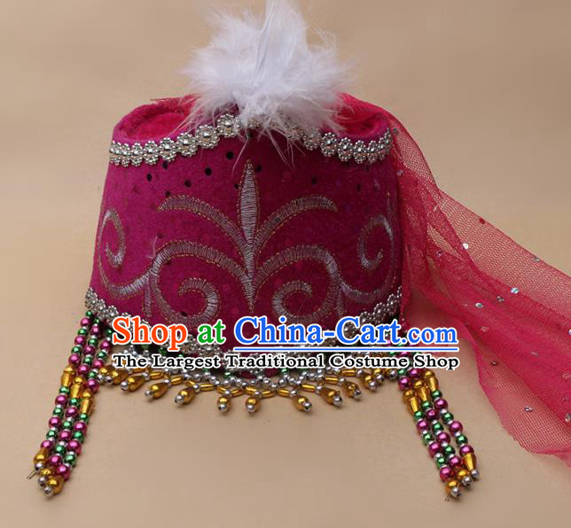 Handmade Chinese Traditional Kazak Minority Dance Rosy Veil Hat Ethnic Nationality Headwear for Women
