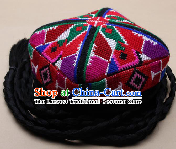 Handmade Chinese Traditional Uyghur Minority Dance Knitted Hat Ethnic Nationality Headwear for Women