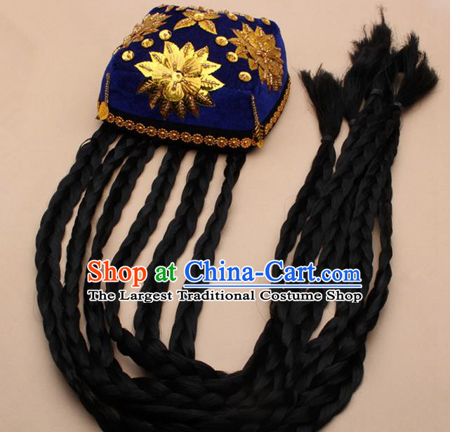 Chinese Traditional Uyghur Minority Dance Braid Paillette Royalblue Hat Xinjiang Ethnic Nationality Headwear for Women