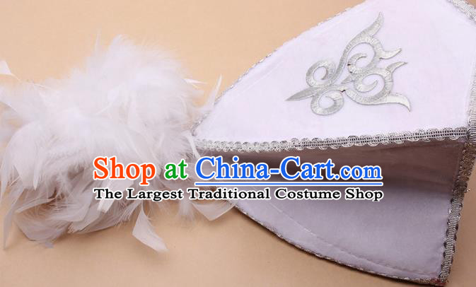 Handmade Chinese Traditional Kazak Minority Feather White Hat Ethnic Nationality Folk Dance Headwear for Women