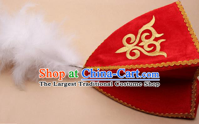 Handmade Chinese Traditional Kazak Minority Feather Red Hat Ethnic Nationality Folk Dance Headwear for Women