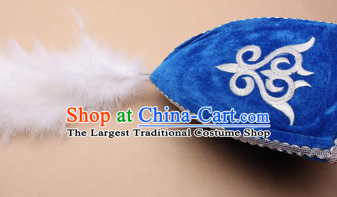 Handmade Chinese Traditional Kazak Minority Feather Blue Hat Ethnic Nationality Folk Dance Headwear for Women