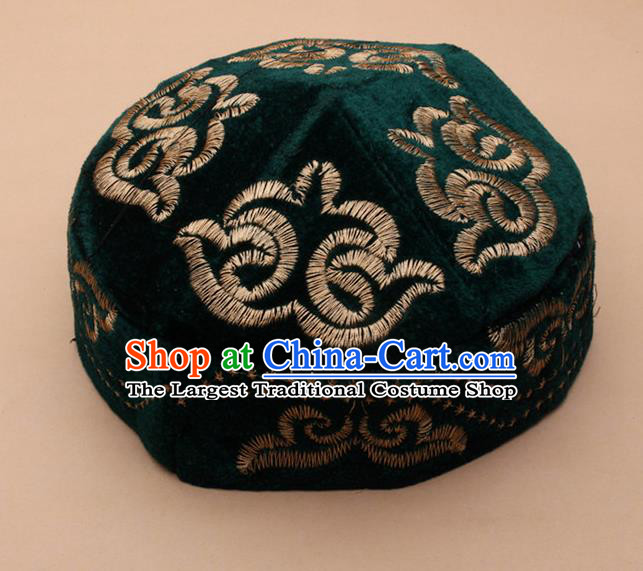 Chinese Traditional Kazak Minority Embroidered Deep Green Velvet Hat Ethnic Xinjiang Stage Show Headwear for Men