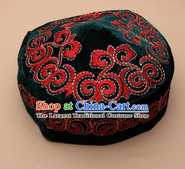 Chinese Traditional Kazak Minority Embroidered Atrovirens Velvet Hat Ethnic Xinjiang Stage Show Headwear for Men