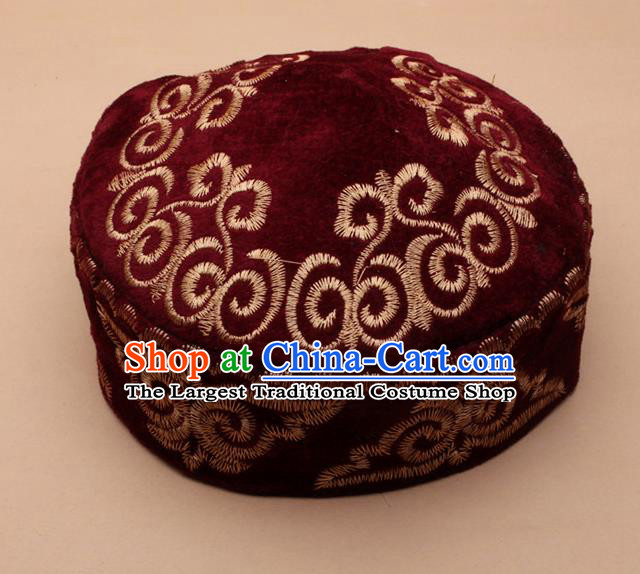 Chinese Traditional Kazak Minority Embroidered Wine Red Velvet Hat Ethnic Xinjiang Stage Show Headwear for Men