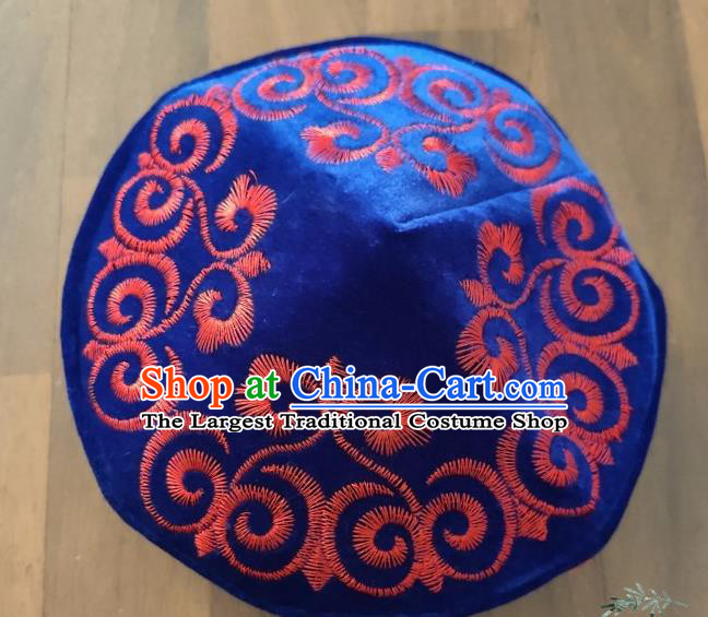 Chinese Traditional Kazak Minority Embroidered Deep Blue Velvet Hat Ethnic Xinjiang Stage Show Headwear for Men