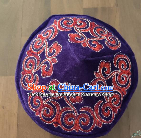 Chinese Traditional Kazak Minority Embroidered Purple Velvet Hat Ethnic Xinjiang Stage Show Headwear for Men