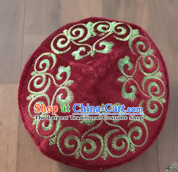 Chinese Traditional Kazak Minority Embroidered Purplish Red Velvet Hat Ethnic Xinjiang Stage Show Headwear for Men