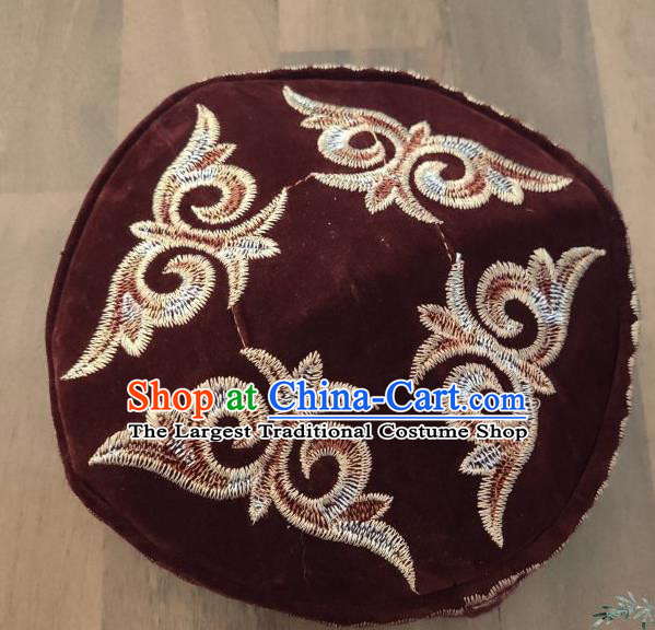Chinese Traditional Kazak Minority Embroidered Dark Red Velvet Hat Ethnic Xinjiang Stage Show Headwear for Men