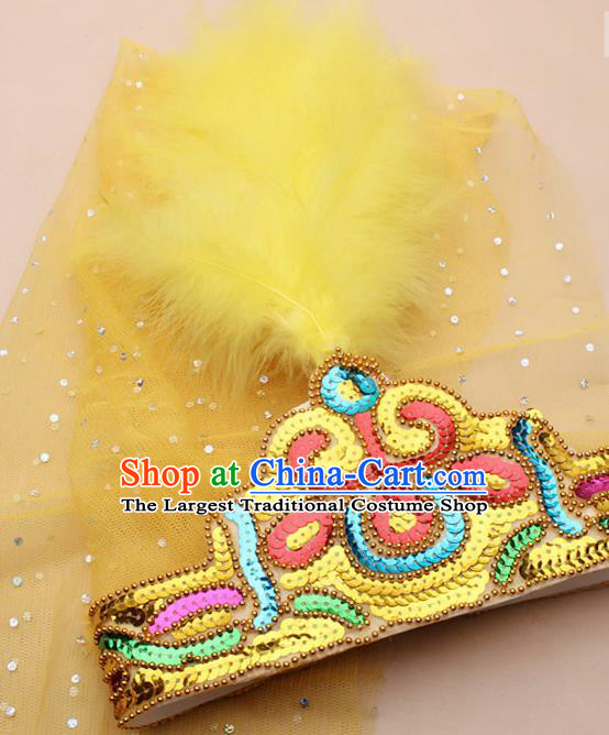Handmade Chinese Traditional Uyghur Minority Yellow Feather Hat Ethnic Nationality Folk Dance Headwear for Women