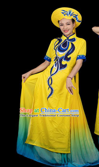 Traditional Chinese Jing Nationality Folk Dance Yellow Dress Ethnic Ha Festival Stage Show Costume for Women