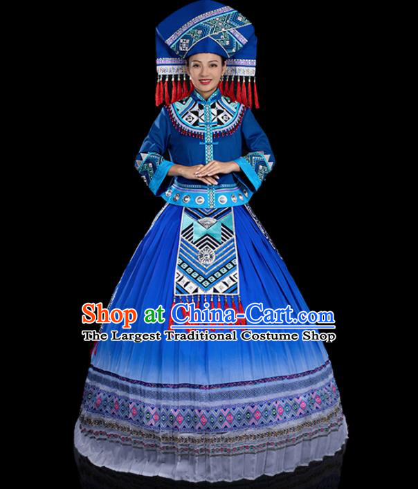 Traditional Chinese Zhuang Nationality Stage Show Deep Blue Dress Ethnic Festival Folk Dance Costume for Women