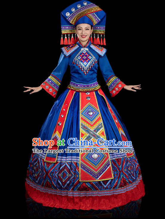Traditional Chinese Zhuang Nationality Stage Show Royalblue Dress Ethnic Festival Folk Dance Costume for Women