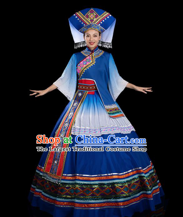 Traditional Chinese Zhuang Nationality Stage Show Navy Dress Ethnic Festival Folk Dance Costume for Women