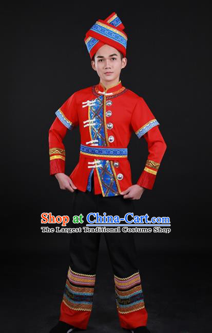 Chinese Traditional Zhuang Nationality Red Outfits Ethnic Minority Folk Dance Stage Show Costume for Men