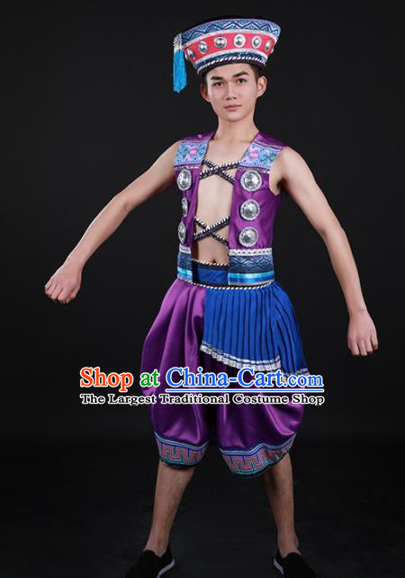 Chinese Traditional Yao Nationality Festival Purple Outfits Ethnic Minority Folk Dance Stage Show Costume for Men
