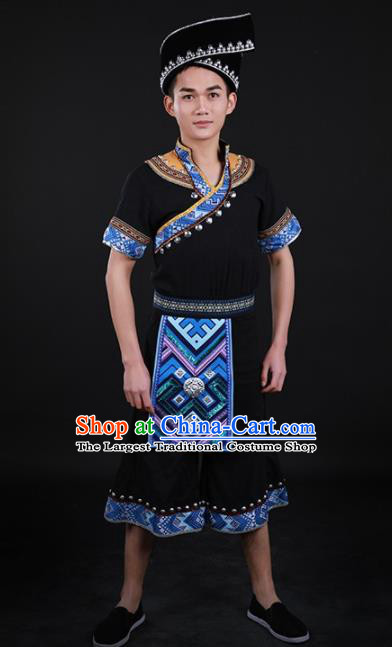 Chinese Traditional Zhuang Nationality Festival Black Outfits Ethnic Minority Folk Dance Stage Show Costume for Men