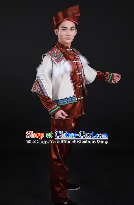 Chinese Traditional Miao Nationality Festival Brown Outfits Ethnic Minority Folk Dance Stage Show Costume for Men
