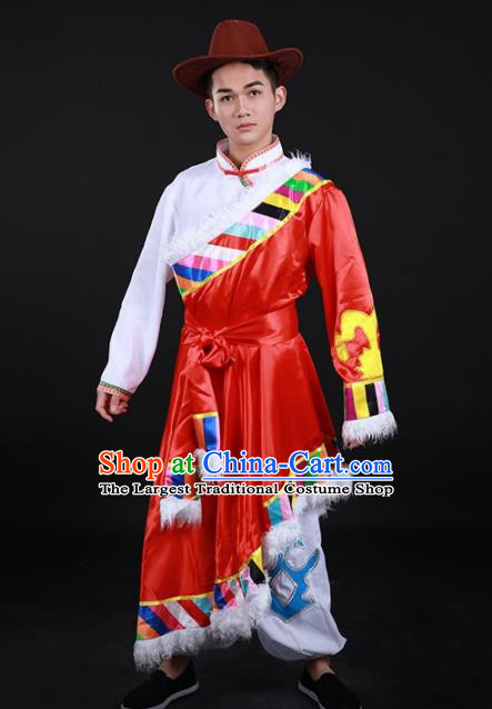 Chinese Traditional Yugu Nationality Festival Red Outfits Ethnic Minority Folk Dance Stage Show Costume for Men