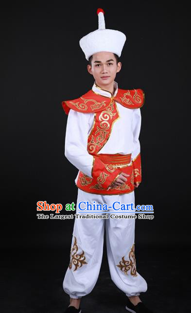 Chinese Traditional Ewenki Nationality Festival White Outfits Ethnic Minority Folk Dance Stage Show Costume for Men
