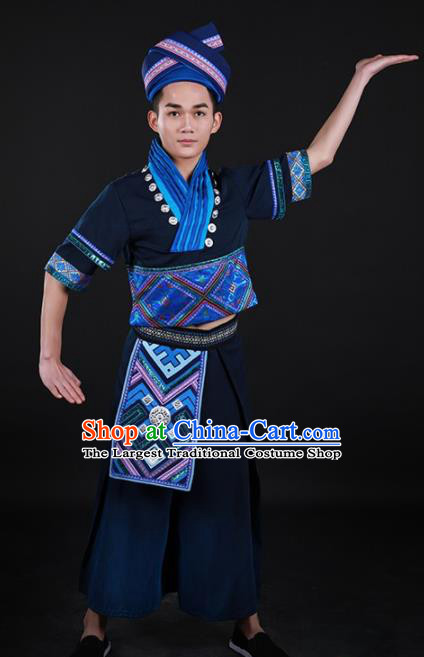 Chinese Traditional Zhuang Nationality Festival Navy Outfits Ethnic Minority Folk Dance Stage Show Costume for Men