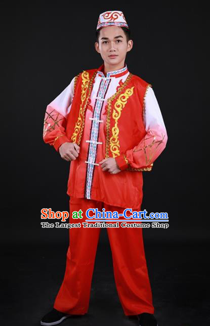 Chinese Traditional Hui Nationality Festival Red Outfits Ethnic Minority Folk Dance Stage Show Costume for Men
