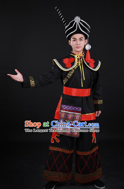 Chinese Traditional Yi Nationality Festival Black Outfits Ethnic Minority Folk Dance Stage Show Costume for Men