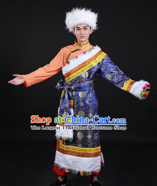 Chinese Traditional Zang Nationality Festival Royalblue Outfits Ethnic Minority Folk Dance Stage Show Costume for Men