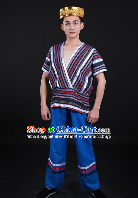 Chinese Traditional Derung Nationality Festival Outfits Ethnic Minority Folk Dance Stage Show Costume for Men