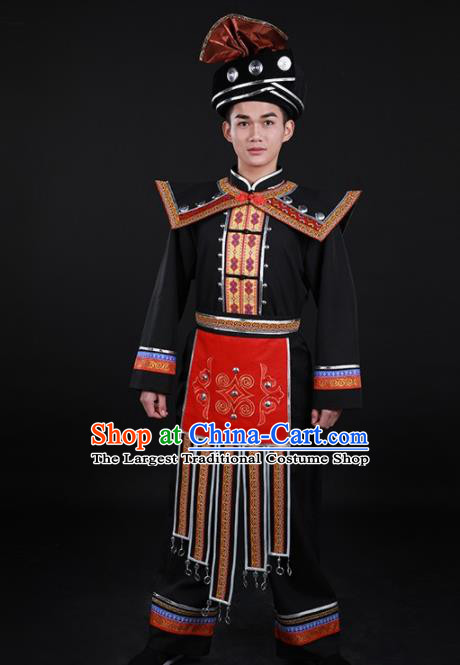 Chinese Traditional Miao Nationality Festival Black Outfits Ethnic Minority Folk Dance Stage Show Costume for Men